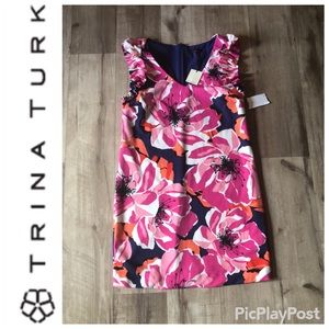 Trina Turk Flowered Knit Sheath Dress Size 8
